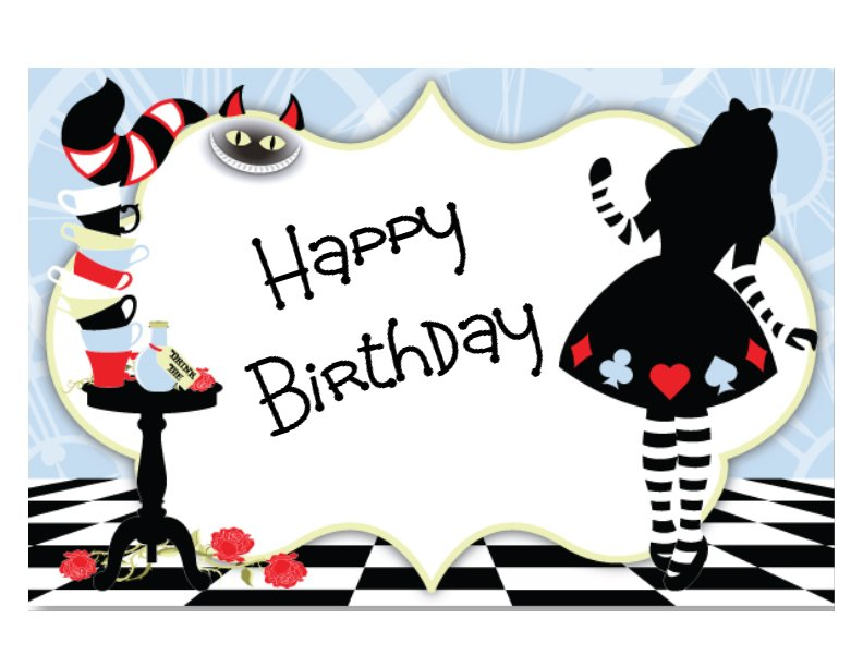 Alice in Wonderland edible image cake sticker